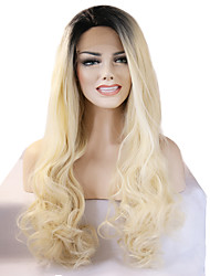 Fashion Ladies Wig High Temperature Silk Long Wavy Hair Golden Lace Front Wig