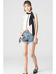 Women's Casual/Daily Simple Blouse,Patchwork Halter Sleeveless Rayon