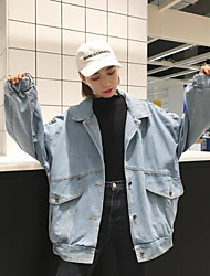 Women's Casual/Daily Simple Cute Spring Fall Denim Jacket,Solid Stand Long Sleeve Short Polyester