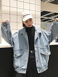 Feminino Jaqueta jeans Colarinho Chinês Manga Longa