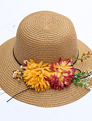 Women's Fashion Handmade Flowers  Bucket Sun Hat Rural Style Striped Spring/Fall  Summer Hats