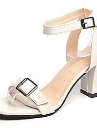 Women's Sandals Comfort Patent Leather Summer Outdoor Walking Comfort Buckle Block Heel Beige Dark Grey Under 1in