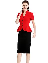 Moulante Gaine Robe Femme Soirée Vintage,Couleur Pleine Col en V Mi-long Manches Courtes Coton Spandex Polyester / Rayon (T / R)Eté