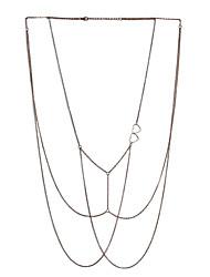 Lureme Sexy Gold Tone Body Chain Tassel Crossover Bikini Fashion Belly Chain Waist Chain