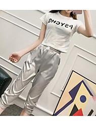 Mujer Sencillo Casual/Diario Verano T-Shirt Pantalón Trajes,Escote Redondo Letra Manga Corta