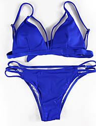 Women's new  Bikini lace up  Swimwear Polyester  blue black Swimsuit