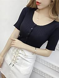 Damen Solide Sexy Übergröße T-shirt,V-Ausschnitt Kurzarm Seide
