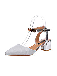 Women's Sandals Slingback Light Soles Leatherette Spring Summer Casual Walking Slingback Light Soles Sequin Hollow-out Chunky HeelSilver