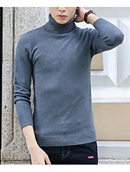 Men's Party Long Cardigan,Solid Turtleneck Long Sleeve Cotton Spring Winter Medium Micro-elastic