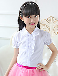 Girl's Han Edition Fashionable And Comfortable Pure Color Lotus Leaf  Stand Collar Short Sleeve Shirt (Do not include the tie)
