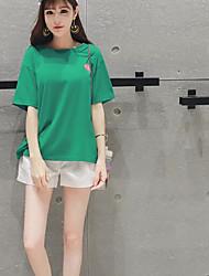 Для женщин Лето Как у футболки Брюки Костюмы Круглый вырез 1/2 Length Sleeve Слабоэластичная