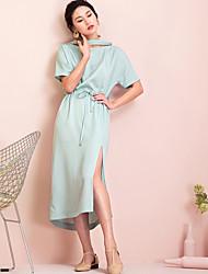 EVEN THOUGHWomen's Casual/Daily Loose DressSolid Asymmetrical Midi Short Sleeve 100%Silk Summer High Rise Inelastic Thin