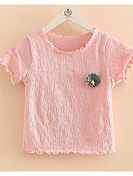 Baby Flowers Short Sleeve T-shirt New Summer 2017 Children's Wear Ruffle Solid Linen Girls'