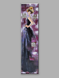 Abstract Oil Painting A Modern Woman In A Navy Blue Dress Framed Handmade Oil Painting For Home Decoration