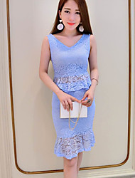 Women's Date Going out Valentine's Day Casual Summer Blouse Skirt Suits,Solid Print V Neck Sleeveless Lace Micro-elastic