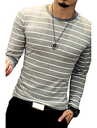 Men's Fashion Summer O Neck Striped Long Sleeve Slim Fit Casual T Shirt/Cotton /Spandex Medium/Plus Size/ Casual/Daily Simple