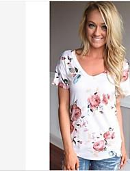 Tee-shirt Femme,Fleur simple Manches Courtes Col en V Coton