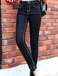 Для женщин просто Уличный стиль Слабоэластичная Skinny Сигареты Брюки,С высокой талией Блесна Обтягивающие Чистый цвет