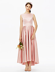 A-Line Bateau Neck Asymmetrical Satin Bridesmaid Dress with Sash / Ribbon Pleats by LAN TING BRIDE®