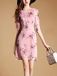 Women's Slim chic A Line Dress Print Ruffle Round Neck Mini Half Sleeve Rayon Summer