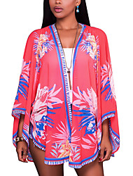 Damen Blumen Boho Strand Hemd,Hemdkragen Sommer Langarm Polyester Elasthan Dünn