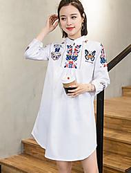 Feminino Solto Vestido,Casual Simples Bordado Colarinho Chinês Acima do Joelho Manga ¾ Outros Primavera Verão Cintura MédiaSem