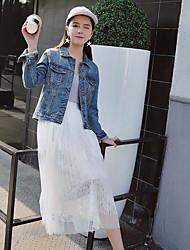 Women's Casual/Daily Simple Spring Denim Jacket,Solid Shirt Collar Long Sleeve Regular Linen