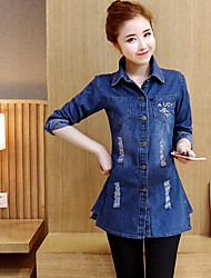 Women's Denim Jacket Shirt Collar Long Sleeve