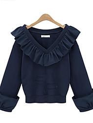 Damen Solide Einfach T-shirt,V-Ausschnitt Frühling Langarm Baumwolle Undurchsichtig