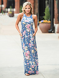Women's Going out Casual/Daily Street chic Sheath Dress,Floral U Neck Maxi Sleeveless Polyester Spandex Summer High Rise Micro-elastic