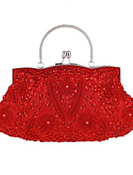 Women Bags All Seasons Cotton Evening Bag with Sequin for Wedding Event/Party Casual Formal Silver Red