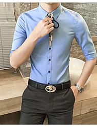 Masculino Camisa Social Trabalho Partido de escritório Simples Verão,Sólido Algodão Colarinho de Camisa Manga 3/4 Fina