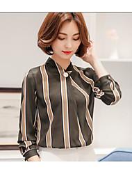 Tee-shirt Femme,Rayé Quotidien Décontracté simple Manches ¾ Col en V Emulation de soie de haute qualité