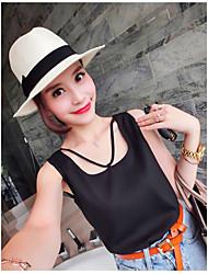 Tee-shirt Femme,Couleur Pleine Décontracté / Quotidien simple Sans Manches Col Arrondi Cuirs Particuliers