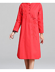 Women's Casual/Daily Tunic Dress,Solid Floral Stand Maxi Long Sleeve Linen Summer High Rise Micro-elastic Medium