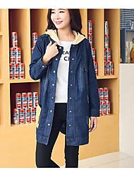 Veste en jean Femme,Couleur Pleine Décontracté / Quotidien simple Automne Manches longues Col de Chemise Long Coton