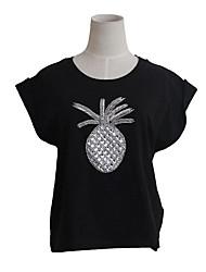 Damen Strass Einfach Alltag Normal T-shirt,Rundhalsausschnitt Kurzarm Baumwolle