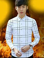 Men's Party Vintage Winter Shirt,Check Standing Collar Long Sleeve Polyester Spandex Medium