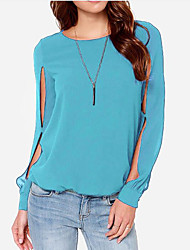 Women's Casual/Daily Simple Shirt,Solid Crew Neck Long Sleeve Silk Cotton