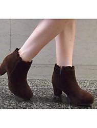 Damen Stiefel PU Winter Schwarz Beige Dunkelbraun 5 - 7 cm