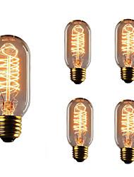 5pcs t45 e27 40w раскаленная лампа накаливания лампочка эдисона для клубных клубов ресторана ac110-130v