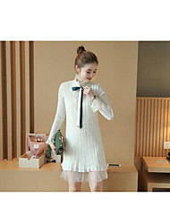 Women's Casual/Daily Simple Shift Dress,Solid Stand Above Knee Long Sleeve Faux Fur Fall Mid Rise Micro-elastic Medium