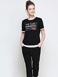 Mujer Casual Casual/Diario Verano T-Shirt Pantalón Trajes,Escote Redondo Estampado Manga Corta Estampado strenchy