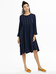 Mujer Corte Ancho Vestido Noche Chic de Calle,Un Color Escote Redondo Midi Manga Larga Azul Algodón Lino Primavera Tiro Medio