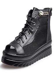 Women's Sandals Gladiator Creepers Comfort Pigskin Spring Casual Black Flat