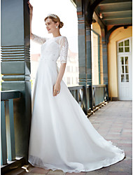 A-line Wedding Dress See-Through Sweep / Brush Train Jewel Tulle with Appliques Crystal