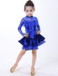 Latin Dance Kid's Spandex Laces 2 Pieces Sleeveless Dress Headpieces