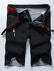 High Quality Famou Men's Mid Rise strenchy Jeans Shorts PantsStreet chic Active Simple Loose Ripped Solid