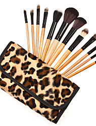 12 Pcs Makeup Brushes Set Professional Natural Wooden Handle Cosmetic Make Up Leopard Case Makeup Tools