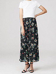 Women's High Waist Micro-elastic Chinos Pants,Sexy A Line Floral